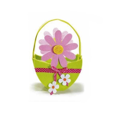 HANDBAG IN FELT WITH FLOWERS - EGG