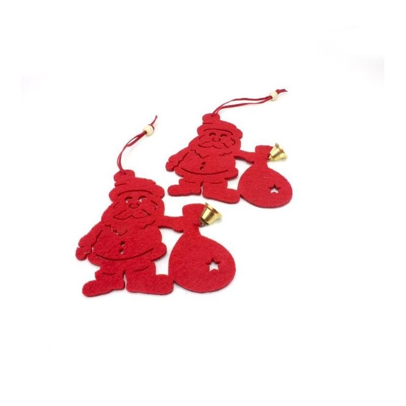 """2 DECORAZIONI """"BABBO NATALE"""" IN FELTRO ROSSO CON CAMPANELLA"""