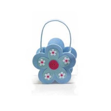 HANDBAG WITH FELT FLOWER - LIGHT BLUE