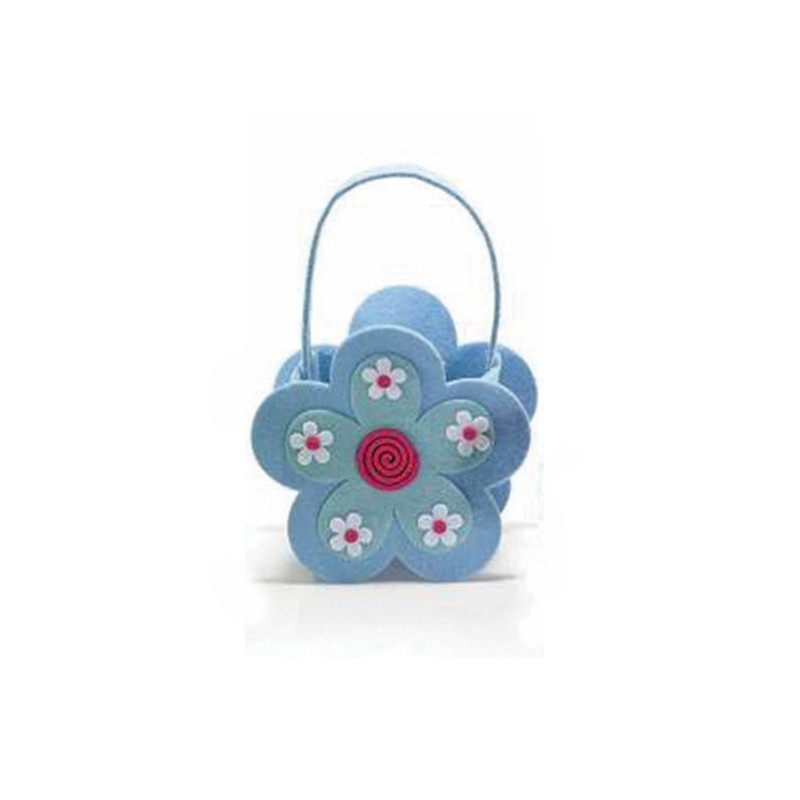 HANDBAG WITH FELT FLOWER - FUCHSIA