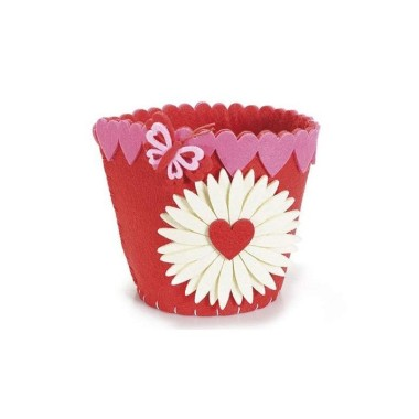 BASKET POT COVERS IN COLOURED FELT WITH DAISY