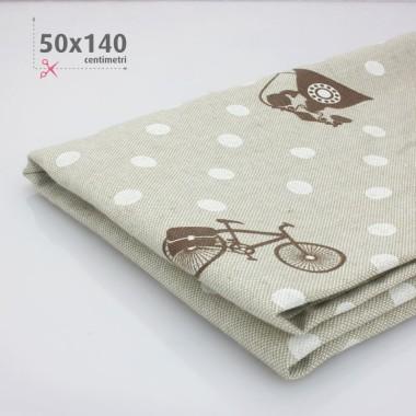 PRINTED LINEN H 50 x 140 cm) - polka dot RETRO