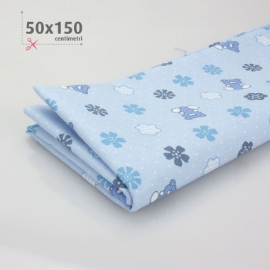 COTTON PRINTED BABY H 50 x 150 cm - sky blue/WHITE