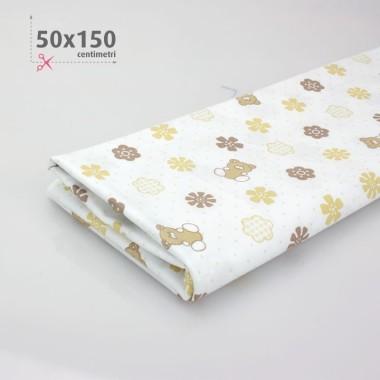 COTONE STAMPATO BABY H 50 x 150 cm - BIANCO/BEIGE
