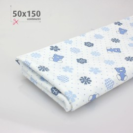 COTTON PRINTED BABY H 50 x 150 cm - WHITE/CELESTE