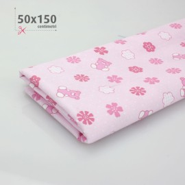 COTTON PRINTED BABY H 50 x 150 cm - PINK/WHITE