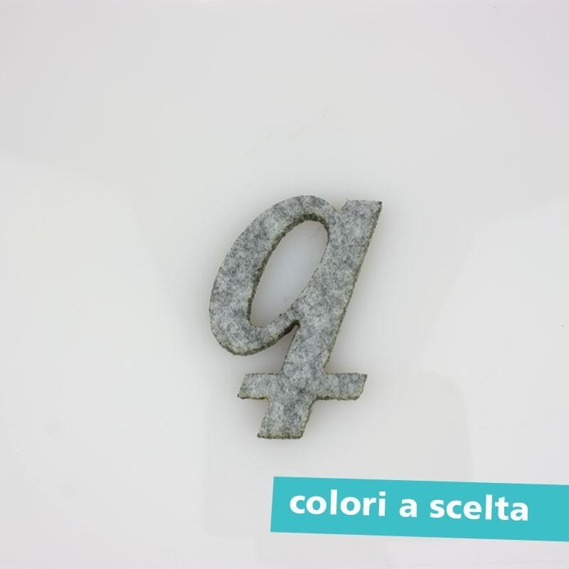 """LETTERA IN FELTRO COLORATO - """"n"""" CORSIVO"""