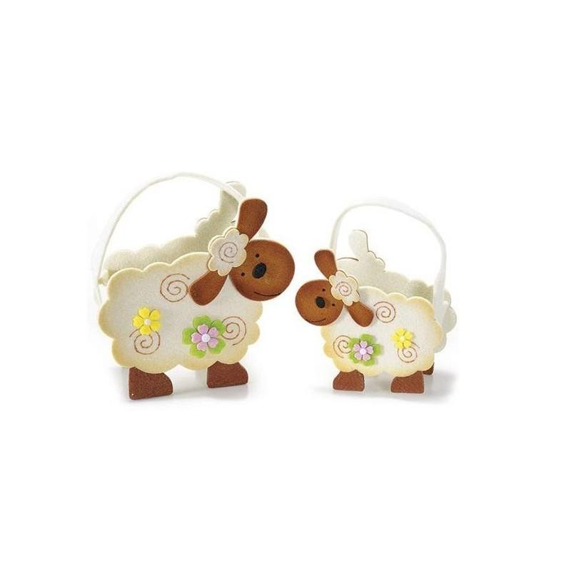SET 2 BORSETTE IN FELTRO - FRAGOLA